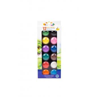 Ark 12 Renk Fırçalı Sulu Boya Pastel Renkler Code1258