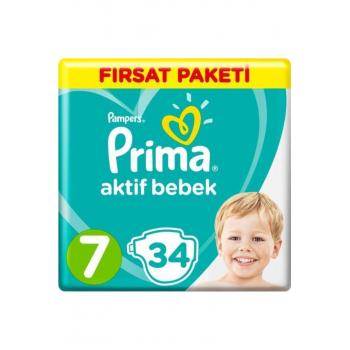 Bebek Bezi Aktif Bebek 7 Beden 34 Adet XX Large Fırsat Paketi