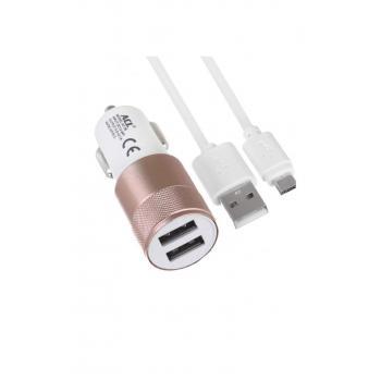 Araç Şarj Cihazı Mikro Usb Kablo Çift Usb Başlık