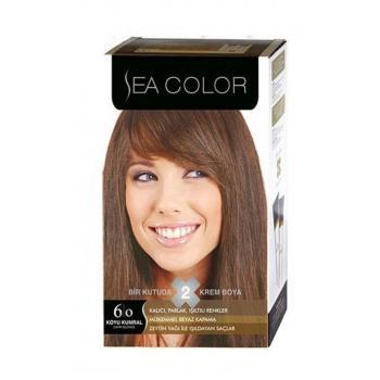 Sea Color 2'Li Krem Saç Boyası 6/0 Koyu Kumral