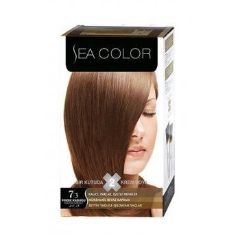 Sea Color 2'li Krem Saç Boyası 7/3 Fındık Kabuğu