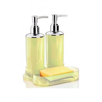 Çift Sıvı Sabunluk Mutfak Banyo Seti Krem