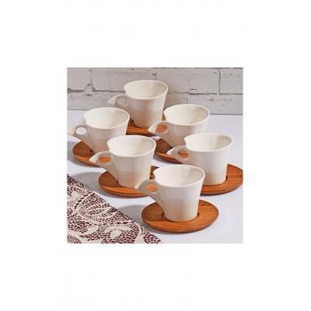 Bambu Tabaklı 6 Lı Kahve Fincan Seti Takımı 12 Parça Zb096-6