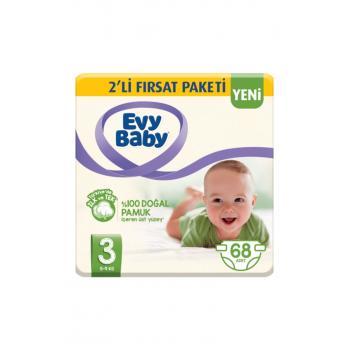 Bebek Bezi 3 Beden 68 Adet 5-9 Kg +40 Yaprak Islak Mendil Hediye