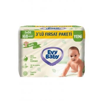 Evy Baby Islak Havlu Soft Kapaklı 56'lı 3 Paket 168 Yaprak