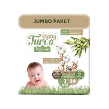 Bebek Bezi Doğadan Beden:3 5-9 kg Midi 34 Adet Jumbo Paket