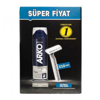Arko Men 10 Adet Tekli Tıraş Bıçağı + Force Tıraş Köpüğü 200 ml
